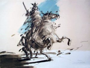"""Lithograph """"The rider"""""""