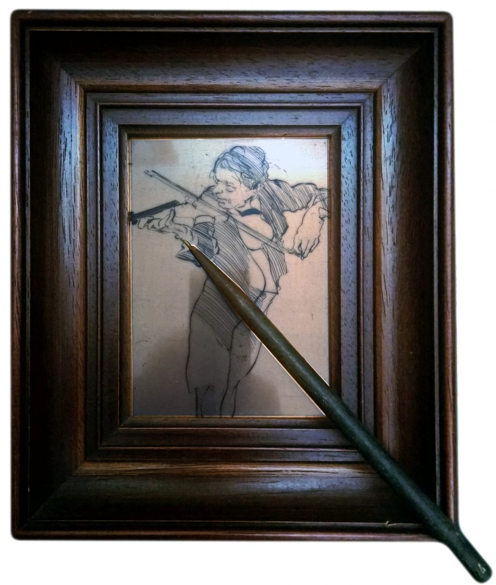 """Weisbuch """"violonniste""""copper and a Dry point"""