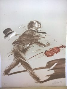 """Weisbuch lithograph """"the violinist"""""""