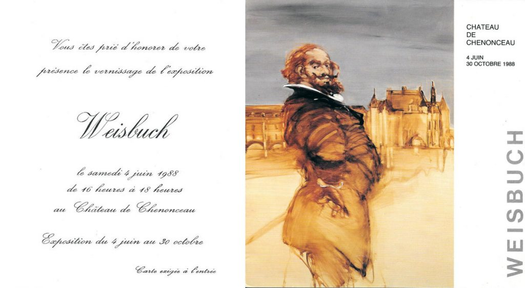 Invitation exhibition oils on canvases in Chenonceau in 1988