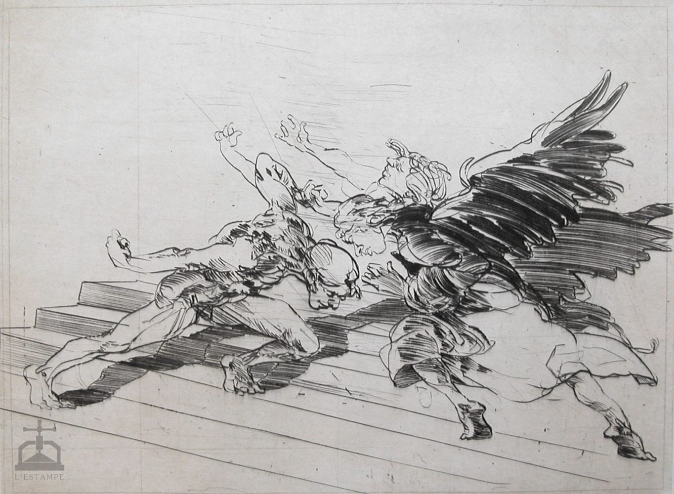 """Engraving """"Fight with the Angel"""""""