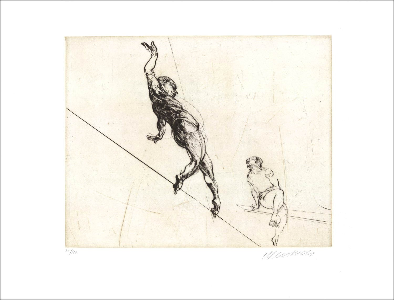 """Weisbuch, engraving """"the tightrope walker"""" 1990"""