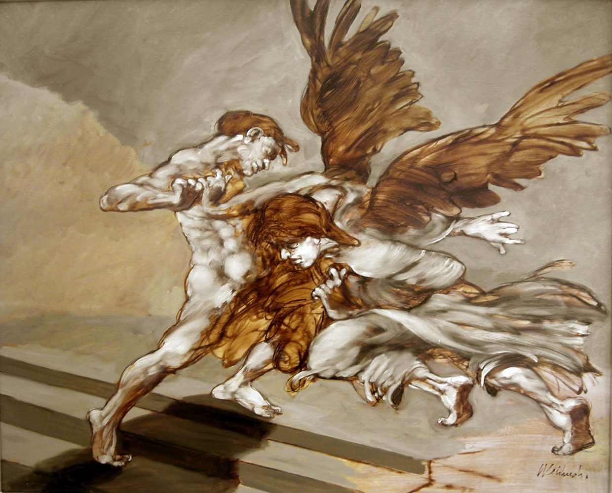 """Weisbuch lithograph """"fight with the Angel"""""""
