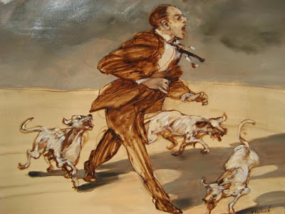 """Weisbuch lithograph """"Man attacked by dogs"""""""