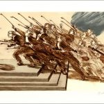 """Weisbuch lithograph """"The oath of the violinists"""